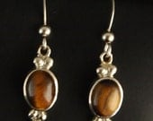 Sterling Silver and Brown Tigereye Dangle Earrings
