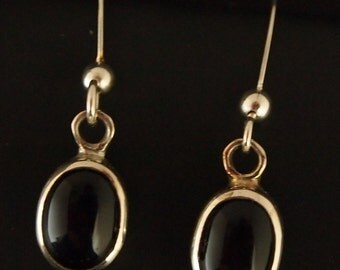 Sterling Silver and Black Onyx Drop Earrings