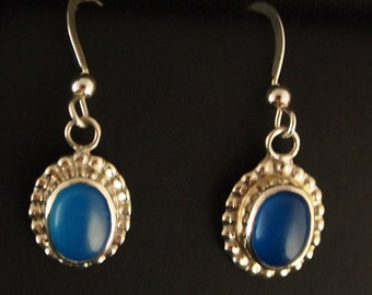 Sterling Silver and Dyed Blue Agate Drop Earrings
