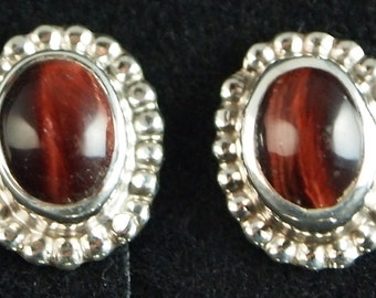 Sterling Silver and Red Tigereye Post Earrings