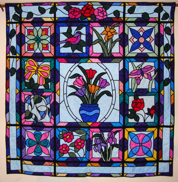 Stained Glass Quilted Wall Art