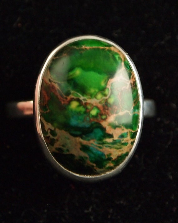 Sterling Silver and Sea Sediment Jasper  Ring