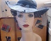 Beautiful dramatic 40s CASABLANCA Veiled Navy TILT hat