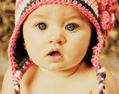 2T - 4T  Baby Girl Flower Earflap Hat - gray, rose pink, pastel pink, white, natural cotton, photo prop