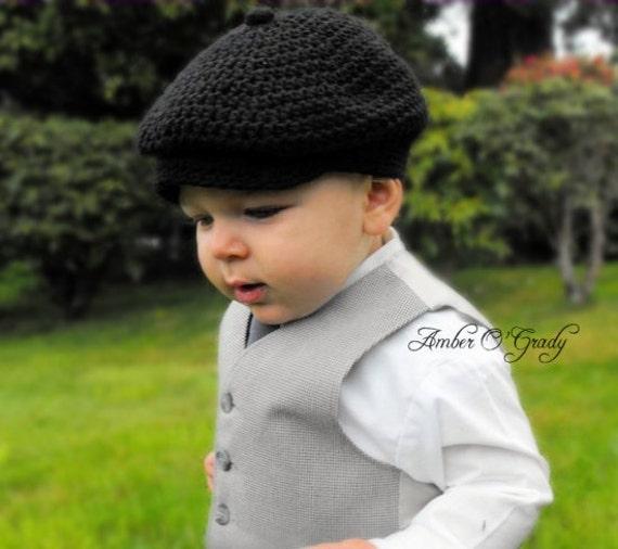 12 24 Month Baby Boy Hat Newsboy Jeff Cap Black Natural