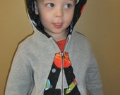 Personalized Zip up Hoodie Sweatshirt with lined hood-CUSTOM Applique for Boys or Girls-sizes 18mo to kids Large