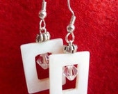 White Dangle Earrings with Swarovski Crystals and Shell Beads