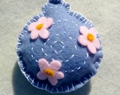 Blue Felt Pincushion Handmade Eco-friendly Daisies Flower Felt Cutie Ornament