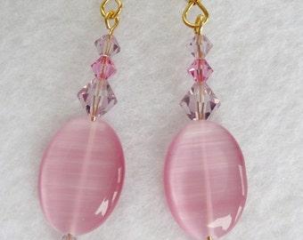 Rose Amethyst Swarovski Crystal Earrings