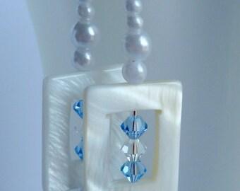 Pearl White Earrings Spring Celebrations Shell Swarovski Crystal