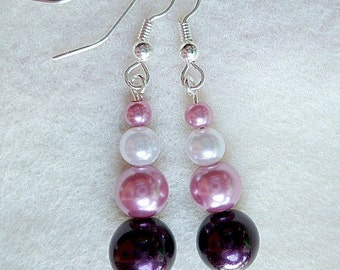 Pink Dangle Earrings Pearls Plum White Wedding Prom Silver Ready to Ship