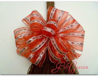 Handmade Red Bow Cheer Silver Stripes Gift Wrap Tree Topper Wreath Wall Decor Ready to Ship