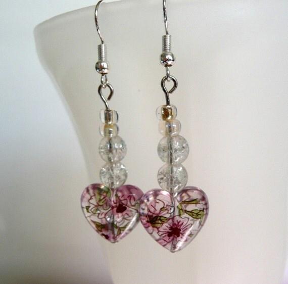 Dangle Heart Earrings Lavender Flower Crackle Beads Silver Wedding