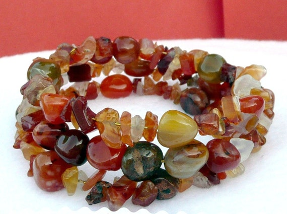 Agate  Natural Bracelet Beads Golden Wired Memory Bracelet Red Orange Yellow Brown Ready to Ship