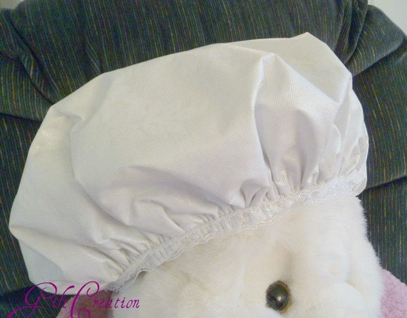 Cream Shower Cap- White Cream Durable Waterproof Soft Vinyl Fabric and Soft Stretchy Cotton/Nylon/Polyster Blend
