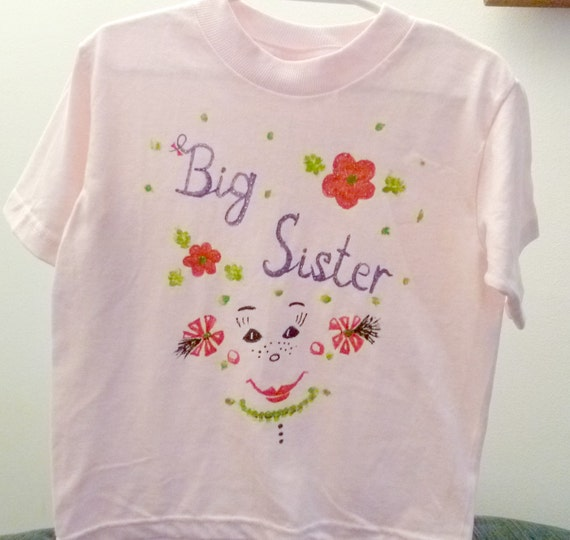 Big Sister T-shirt Pink Cotton Toddler Flowers Smile Girl Beach Soft Washable Vacation  Baby Shower Party