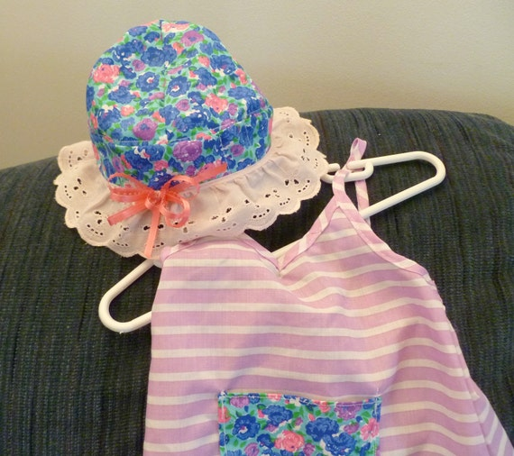 Toddler Girl 2 Piece Beach Set Sun Hat and Fancy Dress Blue Pink Stripy Flower Multicolored