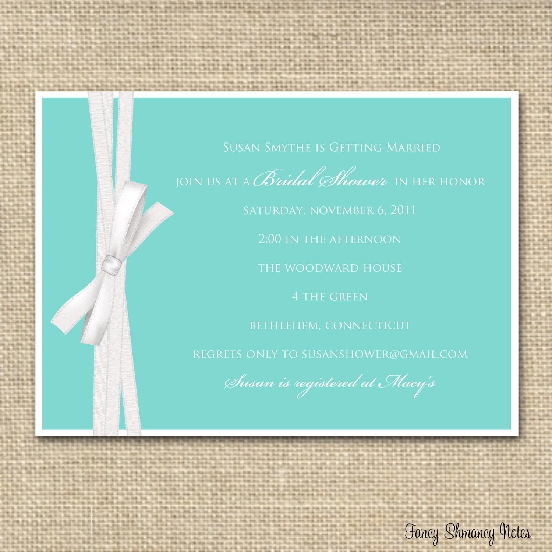 Tiffany Blue Bridal Shower Invitation, Printable Invitations, DIY