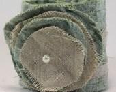 Fiber Art Cuff in celedon crushed velvet