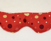 Spa eye pillow with lavender and flaxseed red polka dots