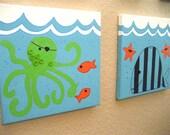 Sealife Ocean 2-pc Kids Wall Art for bathroom