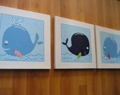Kids Room Whale Art - 3 pc set for boys room or nursery