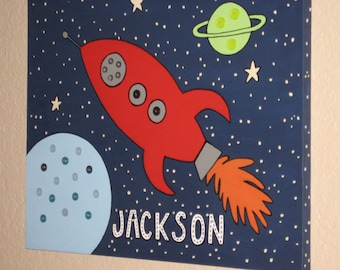 Rocket Ship Kids Wall Art