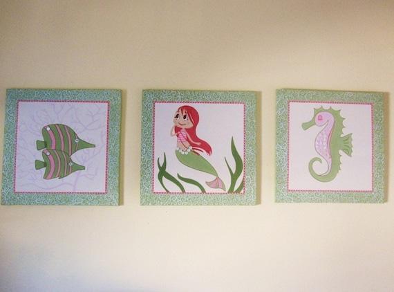 3 pc Sea Life Art for Kids Nursery Room
