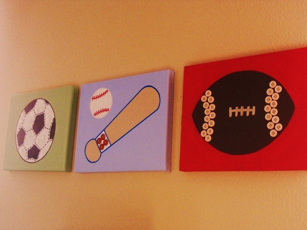3 Pc Sport Themed Nursery Kids Wall Art Baseball Soccer