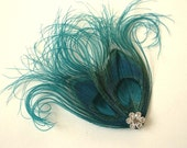 Feather Hairclip, Teal Peacock Feather, Feather Fascinator, Bridal Fascinator
