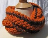 Pumpkin Orange and Brown Lambswool scarf
