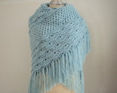 Crochet shawl in light Blue