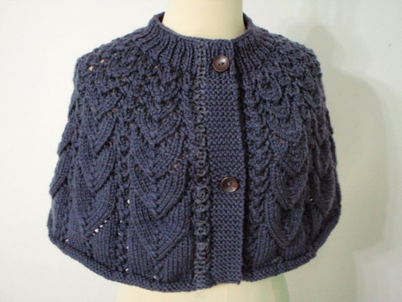 Knitting cape in Ink Blues