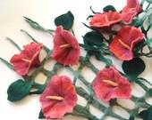 Felt scarf belt  net  Green leaves Pink Flowers