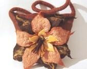 Felted handbag  medium  - Brown Yellow Flower