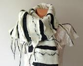 Nuno felted scarf  - Black White