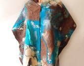 Nuno felted scarf  -  Turquoise Brown Beige