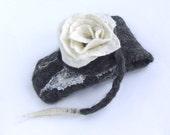 Felt Case Cell Phone and Eyeglasses  - White rose flower gif under 25