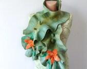 Felted  scarf ruffle collar green orange flowers