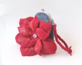 Felted purse bag Clutch  Grey Red Flower Metal Frame with Bag Belt