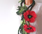 Necklace long felted flower  poppy red gift under 50