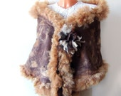Felted scarf wrap  Fur  brown chocolate nut