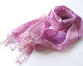 Felted scarf -  Pink Lavender Purple