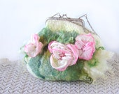 Felted purse wedding small Pink flower White Rose   under 75 spring