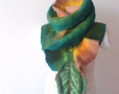 Felted  scarf ruffle collar - Green Leaf gift under 75