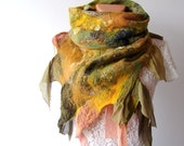 Nuno felted scarf  Green Yellow silk leaves