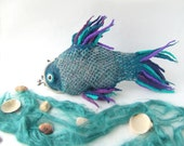Felted purse cosmetic Fish blue Metal Frame under 50 octopurse