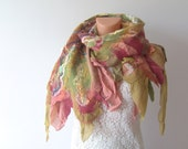 Nuno felted scarf  Green pink silk leaves
