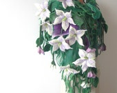 Reserve for Cassandra Nuno felted scarf - purple flowers green leaves