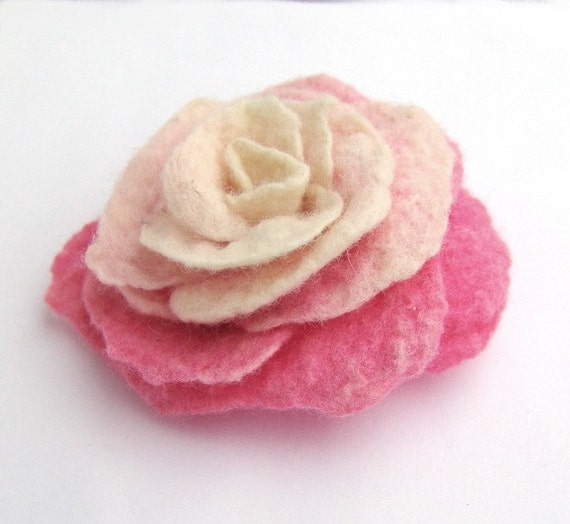 Felted flower brooch -  Pink Rose 50% of this sale will go to Japanese Red Cross Japan Relief